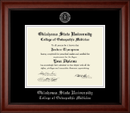 Oklahoma State University College of Osteopathic Medicine Diploma Frame - Silver Embossed Diploma Frame in Cambridge