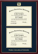 Western International University Diploma Frame - Double Document Diploma Frame in Galleria