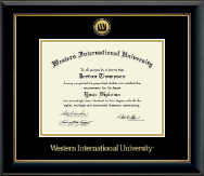 Western International University Diploma Frame - Gold Engraved Medallion Diploma Frame in Onyx Gold