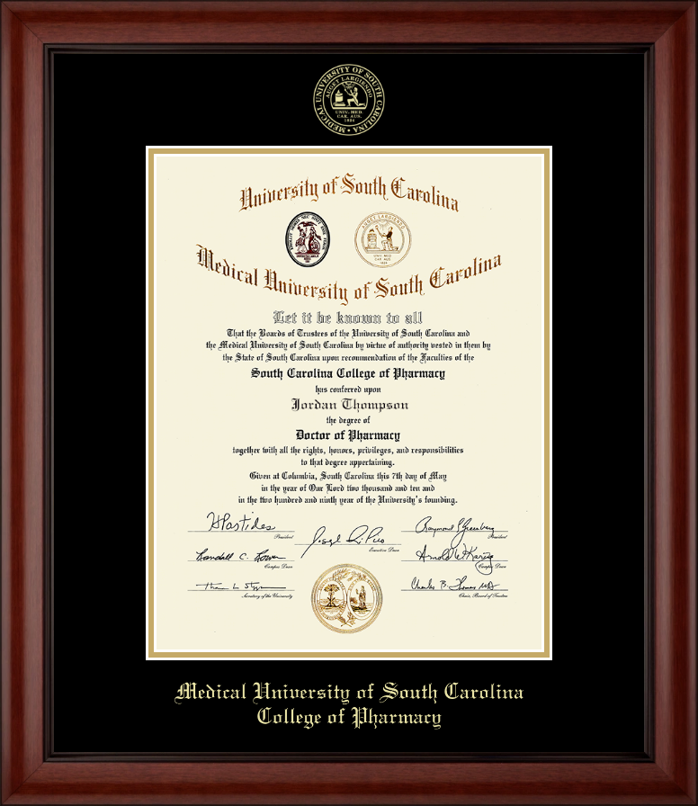 Medical University Of South Carolina Gold Embossed Diploma