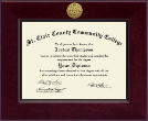 St. Clair County Community College Diploma Frame - Century Gold Engraved Diploma Frame in Cordova
