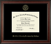St. Clair County Community College Diploma Frame - Gold Embossed Diploma Frame in Studio