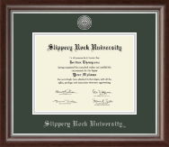 Slippery Rock University Diploma Frame - Silver Engraved Diploma Frame in Devonshire