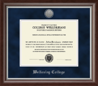 Wellesley College Diploma Frame - Silver Engraved Medallion Diploma Frame in Devonshire