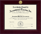 Accreditation Council for Accountancy and Taxation Certificate Frame - Century Gold Engraved Certificate Frame in Cordova