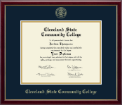 Cleveland State Community College Diploma Frame - Gold Embossed Diploma Frame in Galleria
