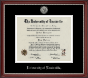 University of Louisville Diploma Frame - Silver Engraved Diploma Frame in Kensington Silver