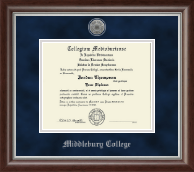 Middlebury College Diploma Frame - Silver Engraved Medallion Diploma Frame in Devonshire