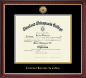 Cleveland Chiropractic College Diploma Frame - Gold Engraved Medallion Diploma Frame in Kensington Gold