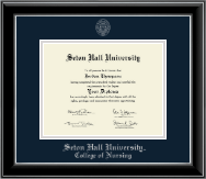 Seton Hall University Diploma Frame - Silver Embossed Diploma Frame in Onyx Silver