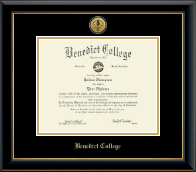 Benedict College Diploma Frame - Gold Engraved Medallion Diploma Frame in Onyx Gold