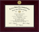 Eastern Maine Community College Diploma Frame - Century Gold Engraved Diploma Frame in Cordova