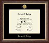 Greenville College Diploma Frame - Gold Engraved Medallion Diploma Frame in Hampshire