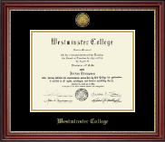 Westminster College in Missouri Diploma Frame - Gold Engraved Diploma Frame in Kensington Gold