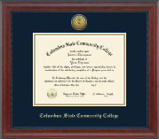 Columbus State Community College Diploma Frame - Gold Engraved Medallion Diploma Frame in Signature