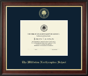 The Williston Northampton School Diploma Frame - Gold Embossed Diploma Frame in Studio Gold