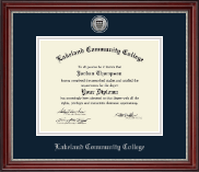 Lakeland Community College Diploma Frame - Silver Engraved Diploma Frame in Kensington Silver