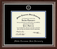 Middle Tennessee State University Diploma Frame - Silver Embossed Diploma Frame in Devonshire