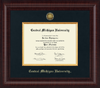 Central Michigan University Diploma Frame - Presidential Gold Engraved Diploma Frame in Premier