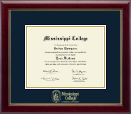 Mississippi College Diploma Frame - Gold Embossed Diploma Frame in Gallery