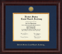United States Coast Guard Academy Diploma Frame - Presidential Gold Engraved Diploma Frame in Premier