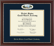 United States Coast Guard Academy Diploma Frame - Campus Cameo Memorial Chapel Diploma Frame in Chateau