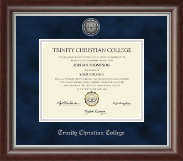 Trinity Christian College Diploma Frame - Silver Engraved Diploma Frame in Devonshire