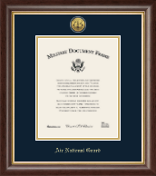 Gold Engraved Air National Guard Certificate Frame - Vertical
