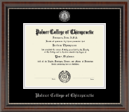 Palmer College of Chiropractic Iowa Diploma Frame - Silver Engraved Medallion Diploma Frame in Chateau