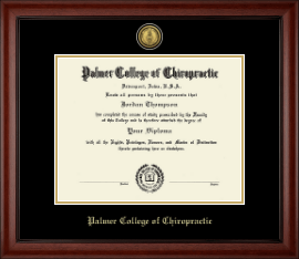 Palmer College of Chiropractic Iowa Diploma Frame - Gold Engraved Medallion Diploma Frame in Cambridge