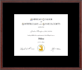 American Congress of Obstetricians & Gynecologists Certificate Frame - Certificate Frame in Signet