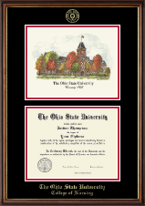 The Ohio State University Diploma Frame - Color Lithograph Edition Diploma Frame in Williamsburg