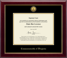 Commonwealth of Virginia Certificate Frame - Gold Engraved Medallion Certificate Frame in Gallery