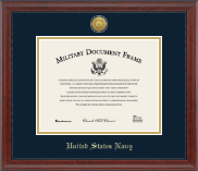 United States Navy Certificate Frame - Gold Engraved Medallion Certificate Frame in Signature