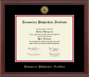 Rensselaer Polytechnic Institute Diploma Frame - Gold Engraved Medallion Diploma Frame in Signature