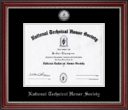 National Technical Honor Society Certificate Frame - Silver Engraved Medallion Certificate Frame in Kensington Silver