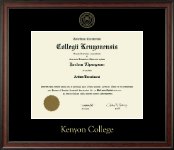 Kenyon College Diploma Frame - Gold Embossed Diploma Frame in Studio