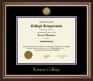 Kenyon College Diploma Frame - Gold Engraved Medallion Diploma Frame in Hampshire