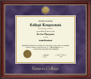 Kenyon College Diploma Frame - Gold Engraved Medallion Diploma Frame in Kensington Gold