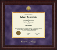 Kenyon College Diploma Frame - Presidential Gold Engraved Diploma Frame in Premier