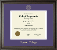 Kenyon College Diploma Frame - Gold Embossed Diploma Frame in Acadia