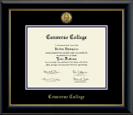 Converse College Diploma Frame - Gold Engraved Medalliion Diploma Frame in Onyx Gold