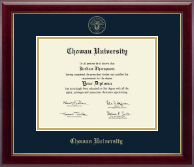 Chowan University Diploma Frame - Gold Embossed Diploma Frame in Gallery