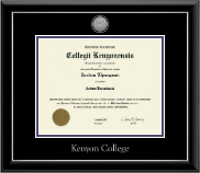 Kenyon College Diploma Frame - Silver Engraved Medallion Diploma Frame in Onyx Silver
