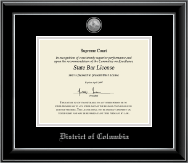District of Columbia Certificate Frame - Silver Engraved Medallion Certificate Frame in Onyx Silver