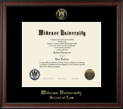 Widener University School of Law Diploma Frame - Gold Embossed Diploma Frame in Studio