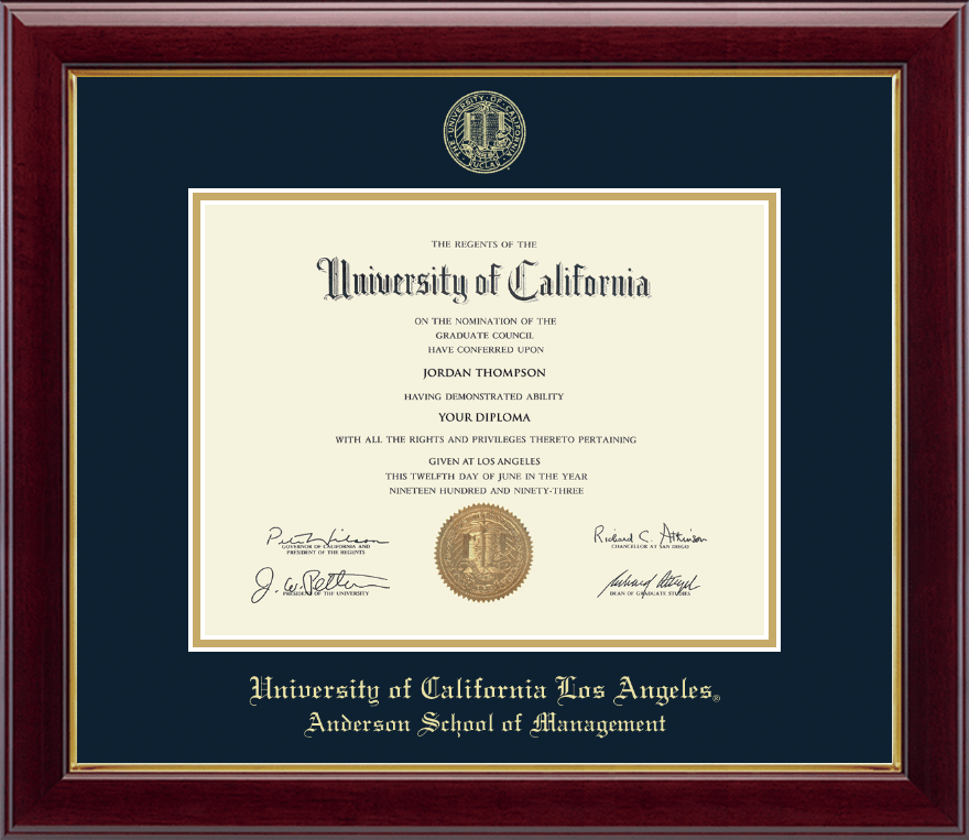 University Of California Los Angeles Gold Embossed Diploma