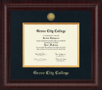 Grove City College Diploma Frame - Presidential Gold Engraved Diploma Frame in Premier