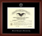 Saint Joseph's University in Pennsylvania Diploma Frame - Silver Embossed Diploma Frame in Cambridge