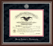Saint Joseph's University in Pennsylvania Diploma Frame - Silver Engraved Medallion Frame in Devonshire